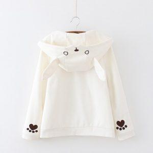 Zipper jacket hood rabbit white heart 22