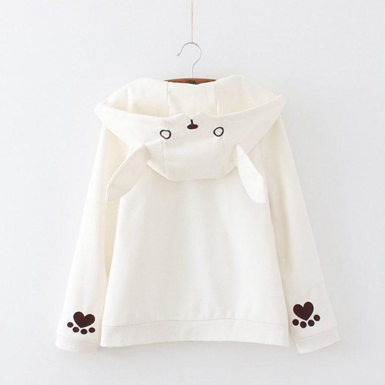 Zipper jacket hood rabbit white heart 1