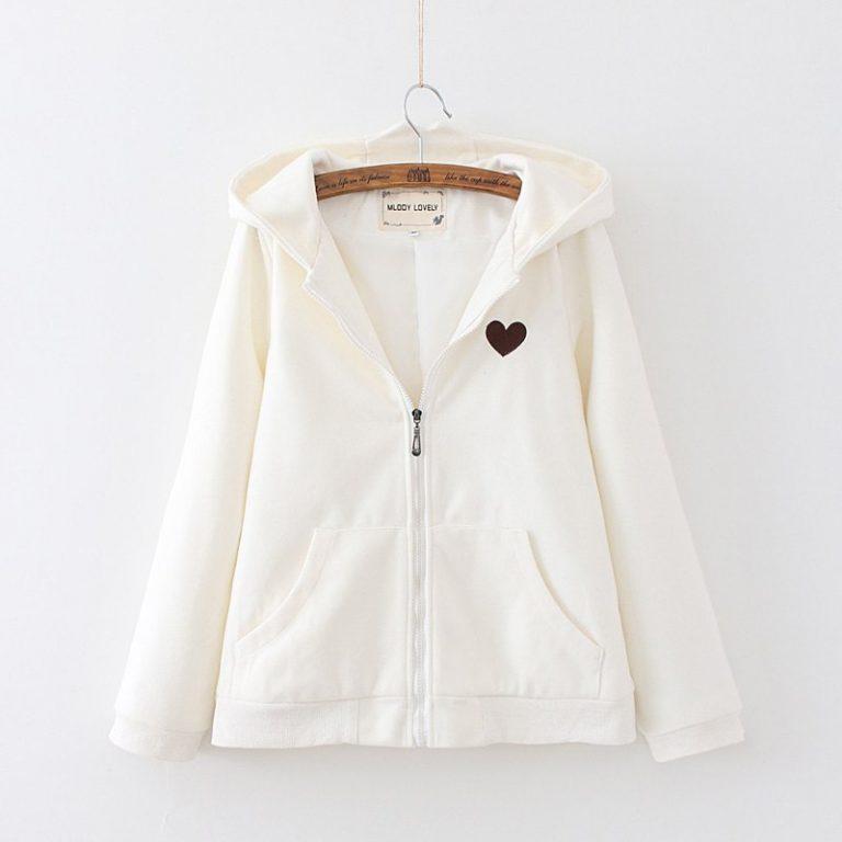Zipper jacket hood rabbit white heart 2