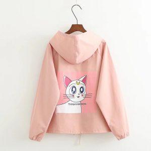 Artemis Sailor Moon cat pink jacket with hoodie 6