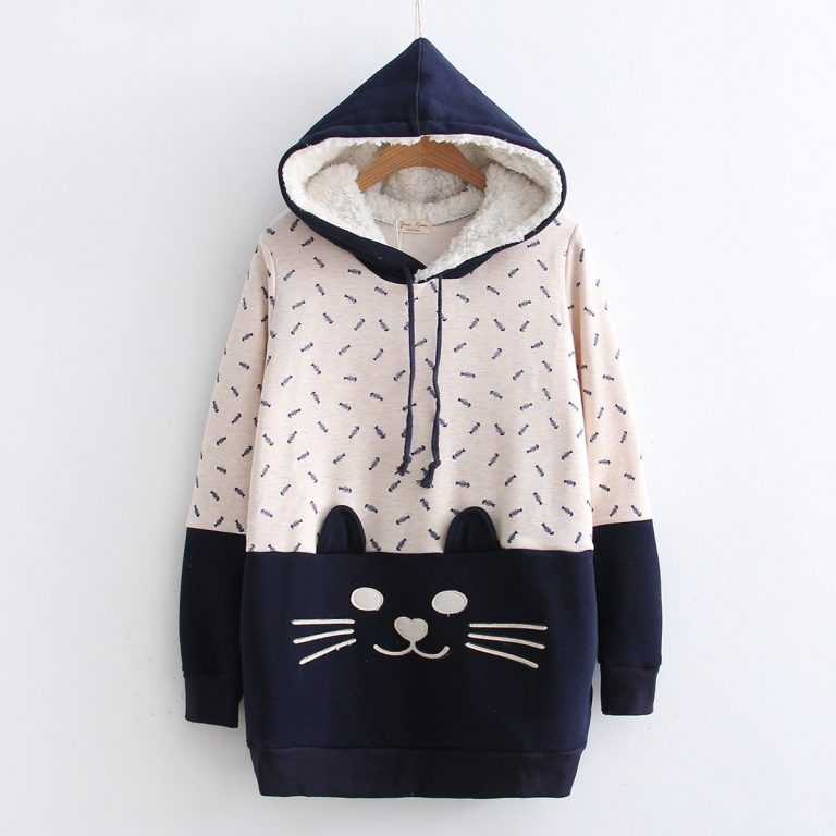 Cat and fish blue sweatshirt 1
