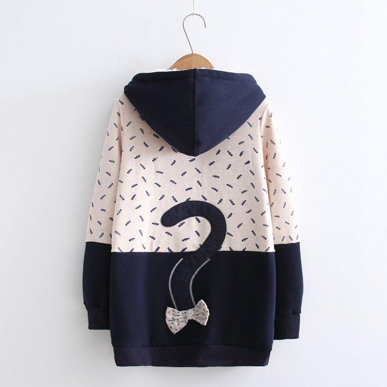Cat and fish blue sweatshirt 2