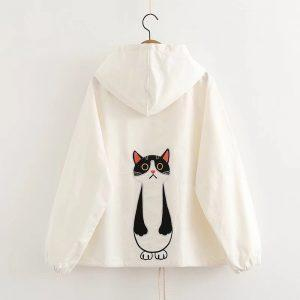 Cat white jacket with hoodie 6