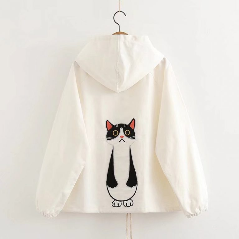 Cat white jacket with hoodie 1