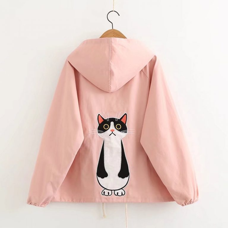 Cat pink jacket with hoodie 1