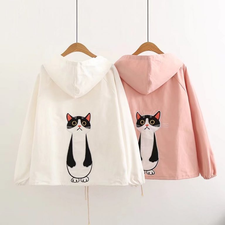 Cat pink jacket with hoodie 4