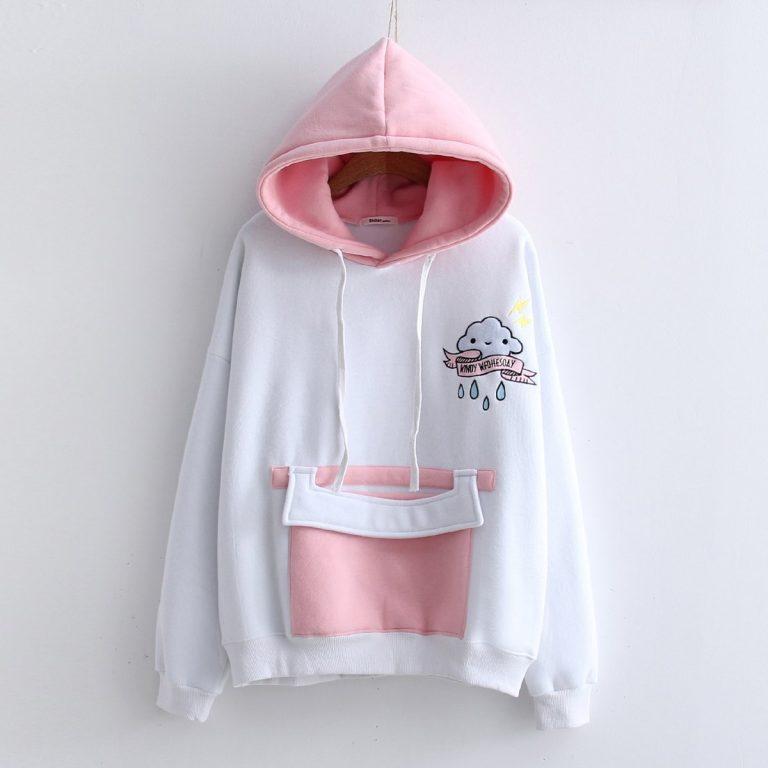 White and pink sweatshirt hood 2
