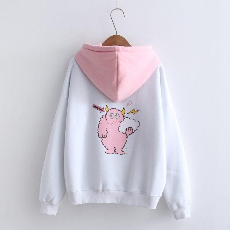 White and pink sweatshirt hood 3