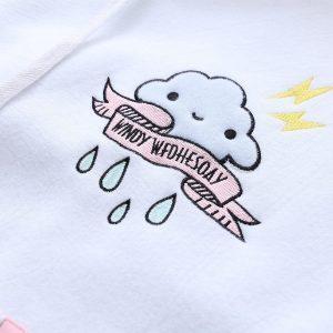 White and pink sweatshirt hood 18