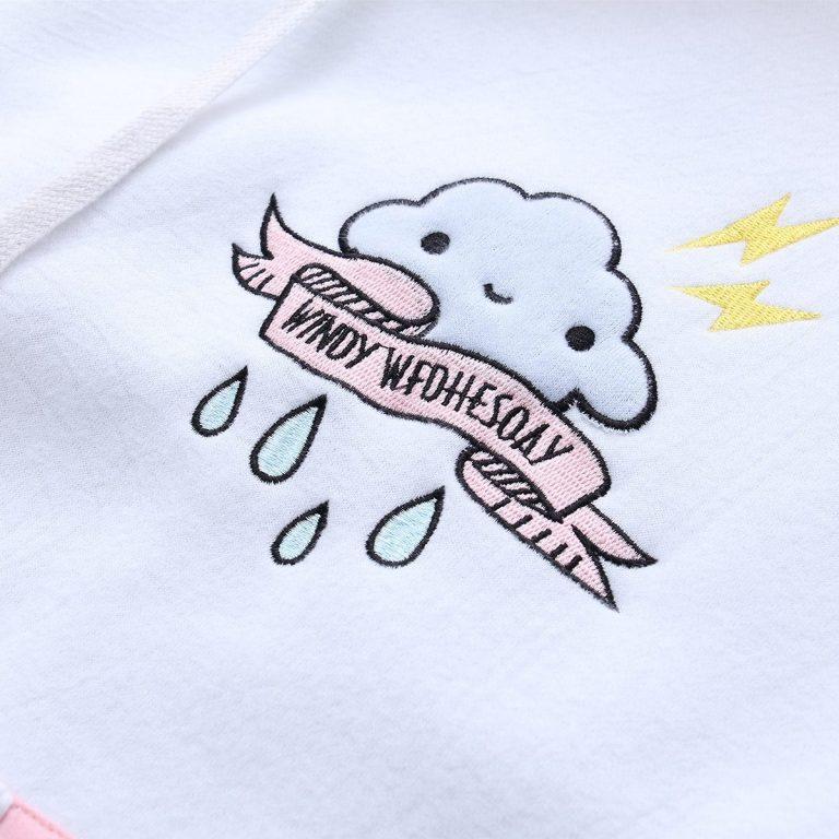 White and pink sweatshirt hood 1