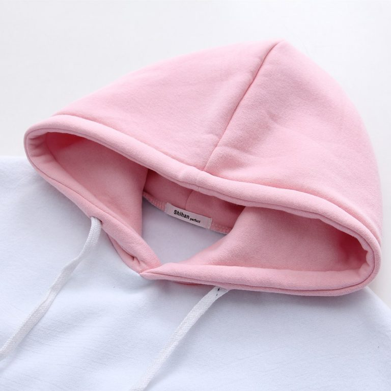 White and pink sweatshirt hood 4