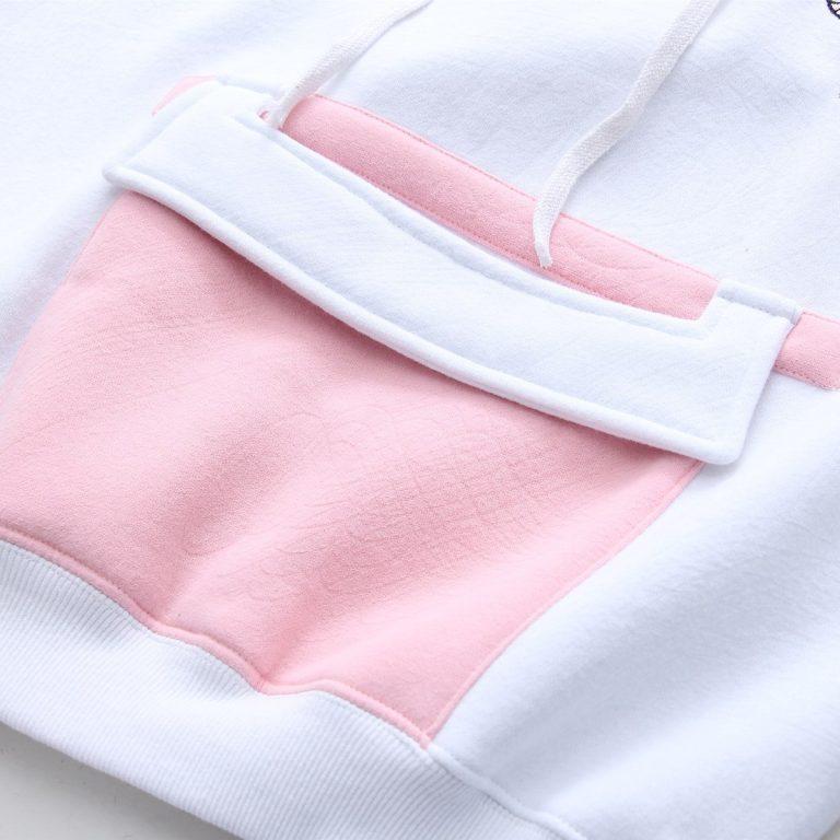 White and pink sweatshirt hood 5