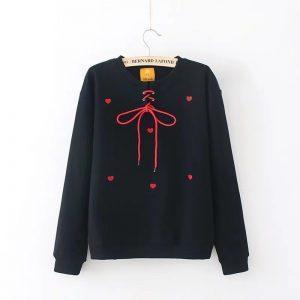 Black sweatshirt with red hearts 10