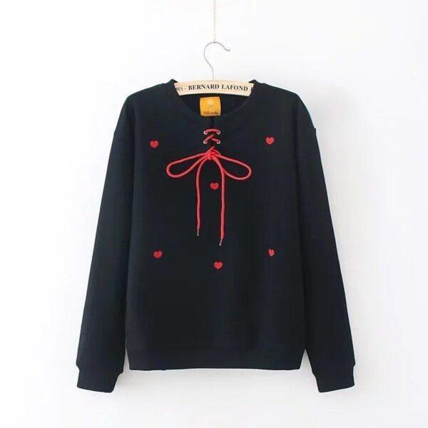 Black sweatshirt with red hearts 10