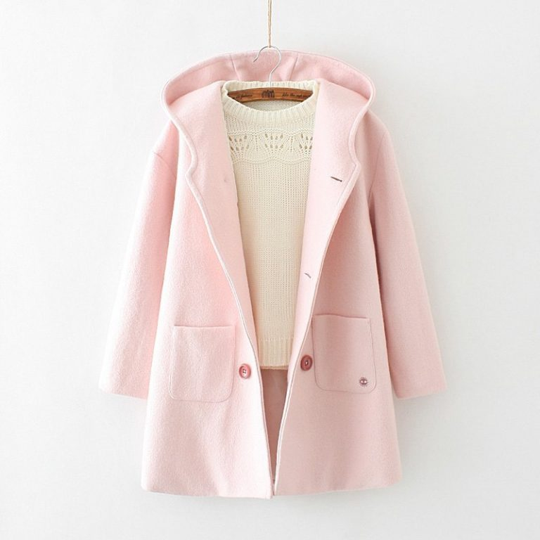 Pink coat with ears and susuwatari detail in pocket 2