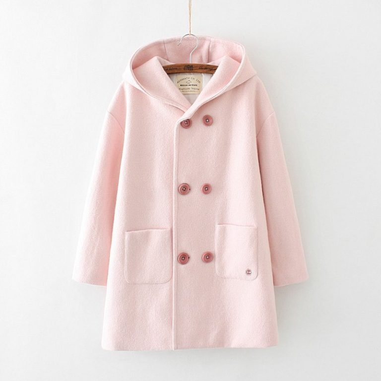 Pink coat with ears and susuwatari detail in pocket 4