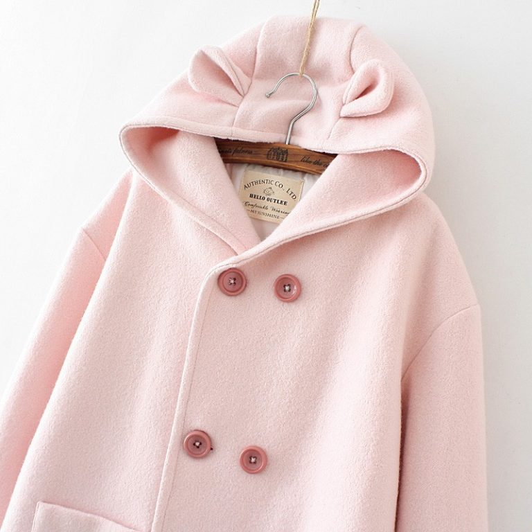 Pink coat with ears and susuwatari detail in pocket 5