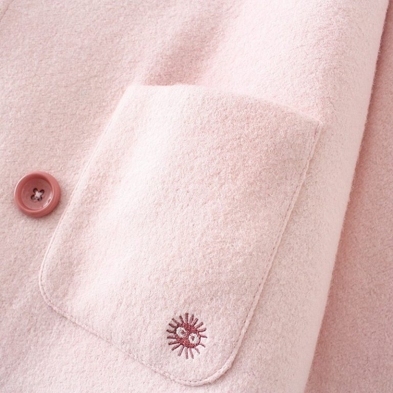 Pink coat with ears and susuwatari detail in pocket 3