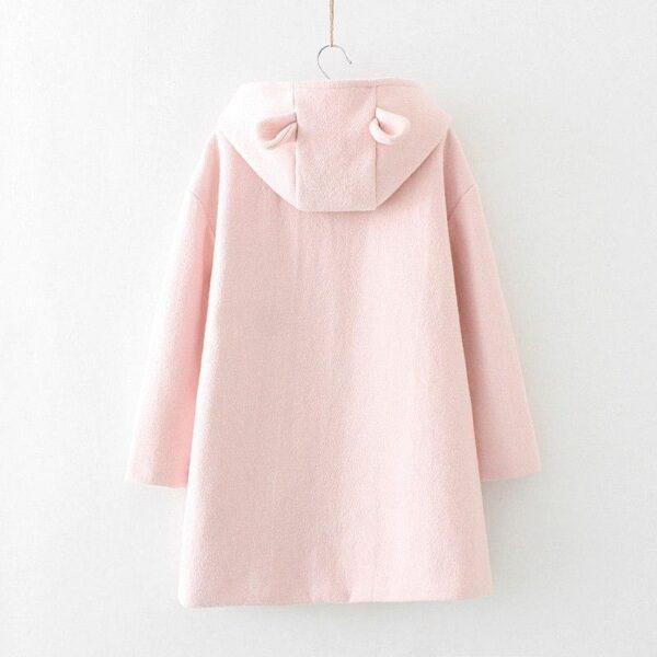 Pink coat with ears and susuwatari detail in pocket 18