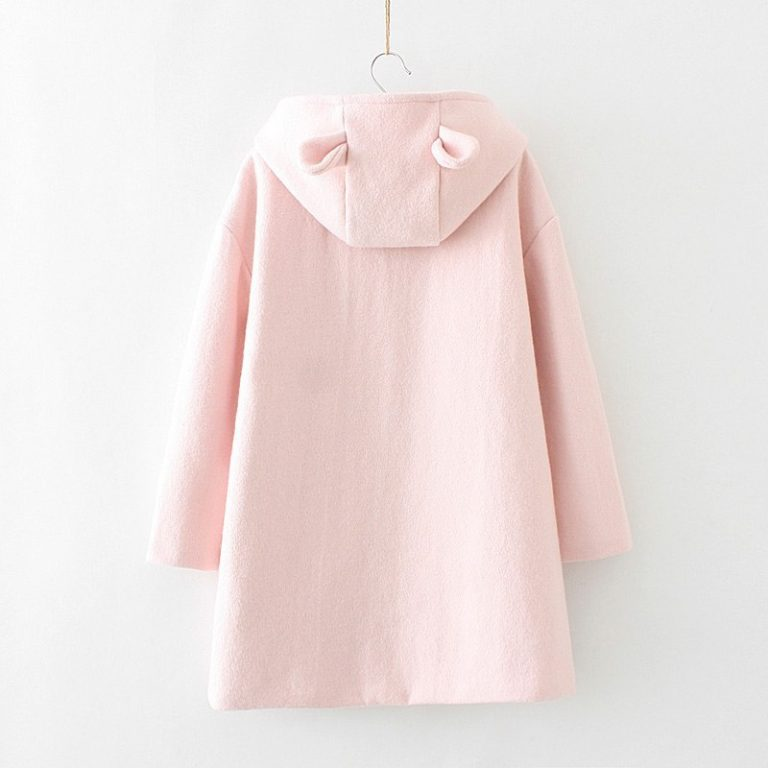 Pink coat with ears and susuwatari detail in pocket 1