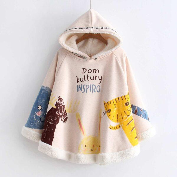Winter Cat Animals  Poncho  Hooded 2