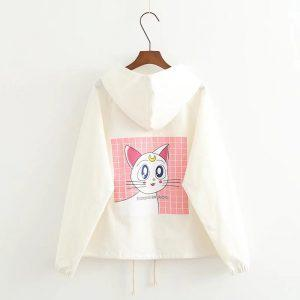 Artemis Sailor Moon cat white jacket with hoodie 14