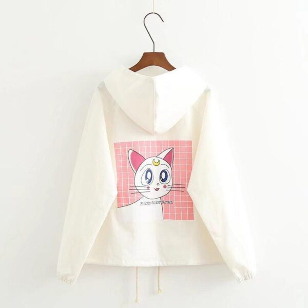 Artemis Sailor Moon cat white jacket with hoodie 6