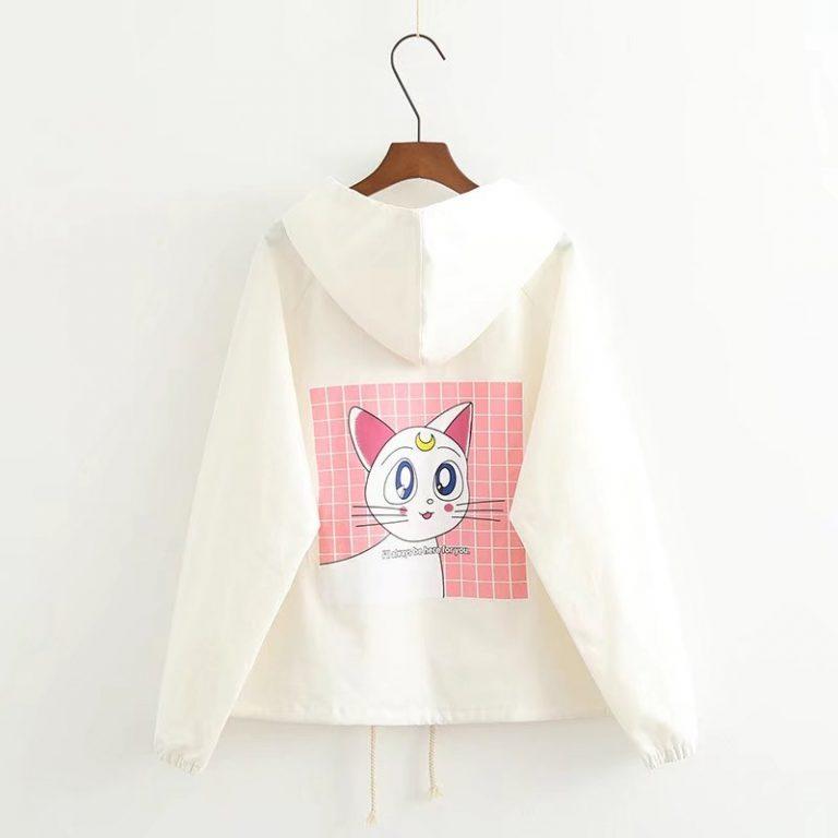 Chaqueta de Artemis de Sailor Moon blanca con capucha 1