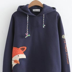 Japanese fox  cashmere warm sweater blue 11