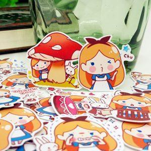 40 big kawaii stickers from Alice in Wonderland