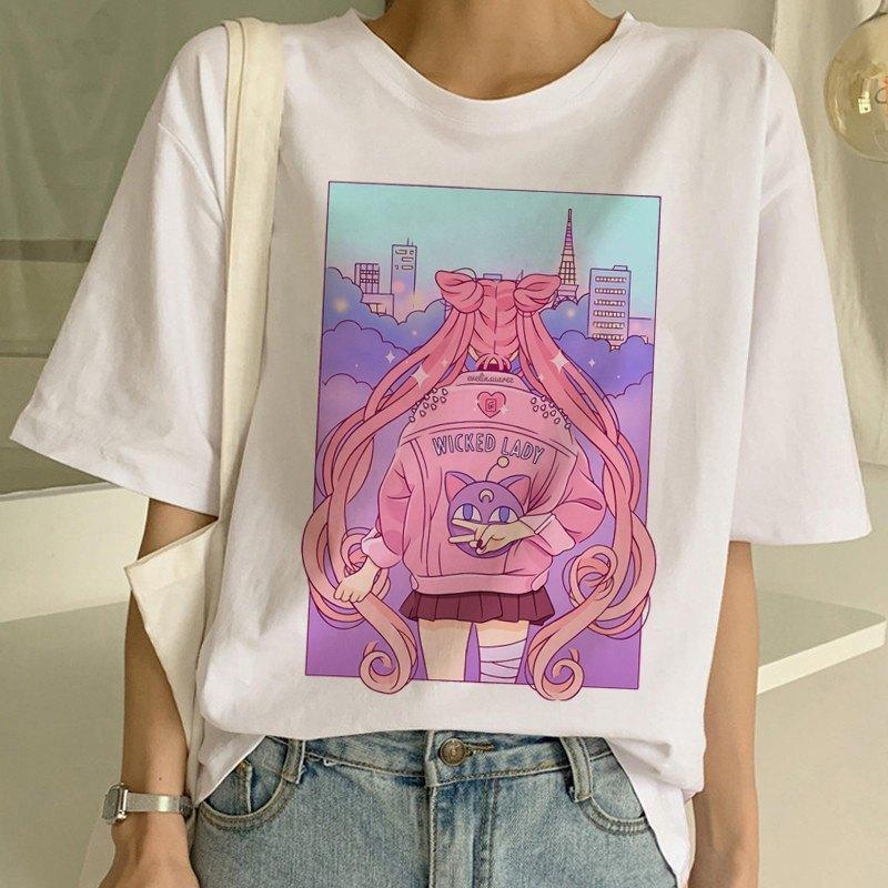 Camiseta de Sailor Moon estilo Harajuku color rosa