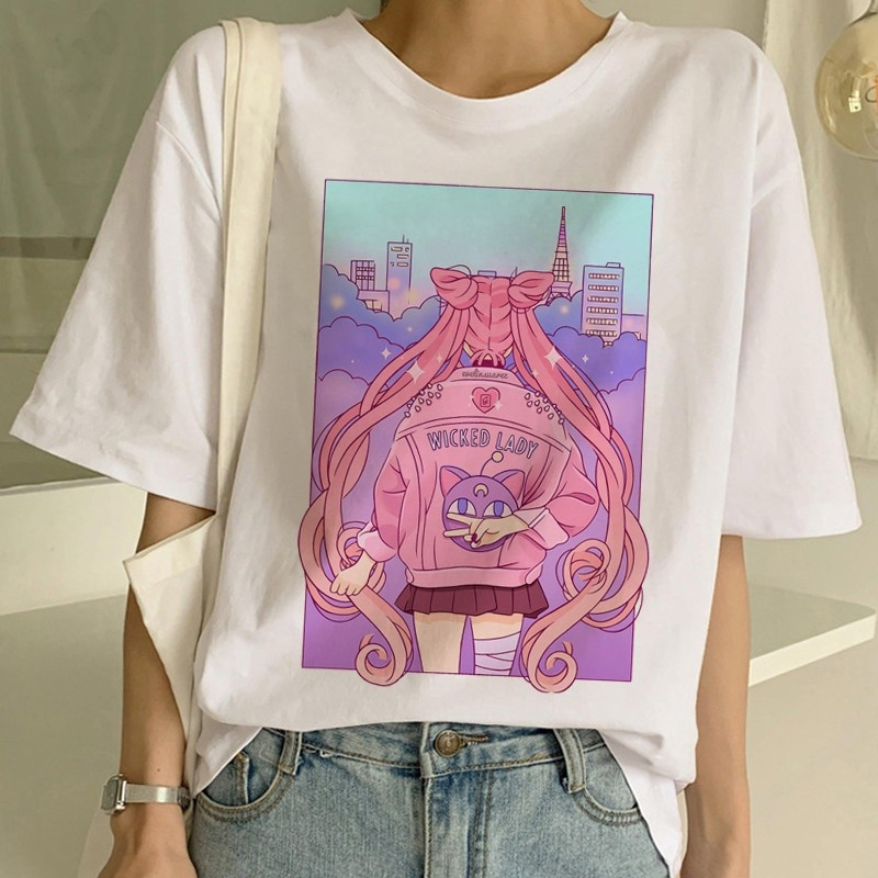 Camiseta de Sailor Moon estilo Harajuku color rosa 1