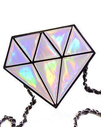 Bolso holográfico diamante en bruto