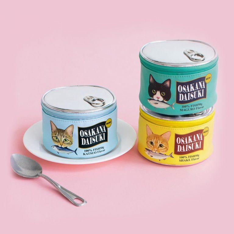 Neceser kawaii estilo lata de comida para gatos