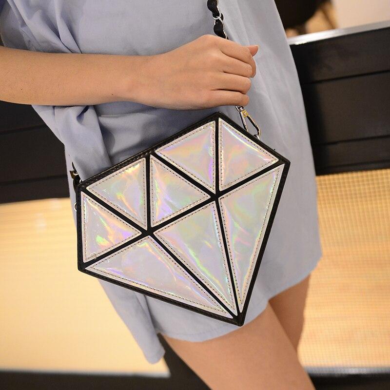 Bolso holográfico diamante en bruto 3