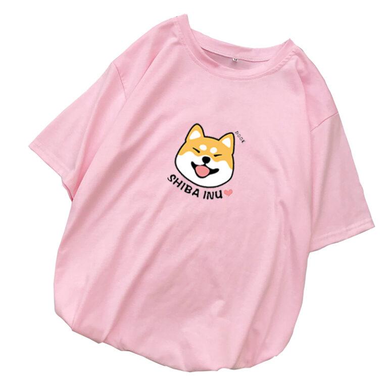 Camiseta kawaii rosa de Shiba 1