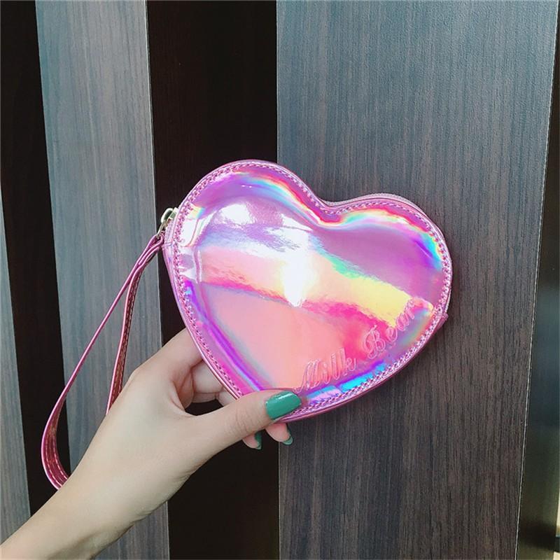 Wallet pocket pink heart holographic 6