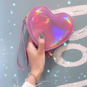 Wallet pocket pink heart holographic