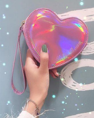 Wallet pocket pink heart holographic