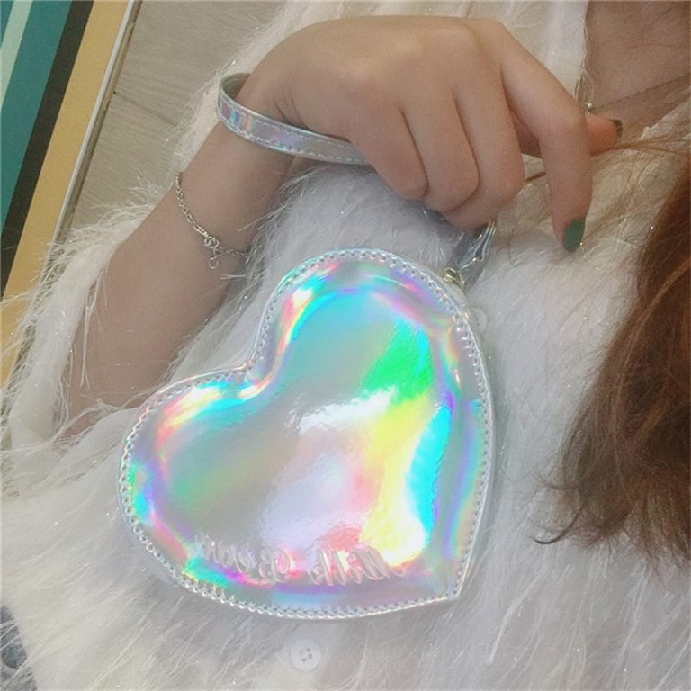 Wallet pocket pink heart holographic 3