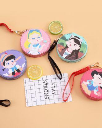 Bentoy moda dibujos animados pequeño monedero cartera mujer cremallera dinero bolsa llavero para bolso bolsa caja almacenamiento redonda para auriculares