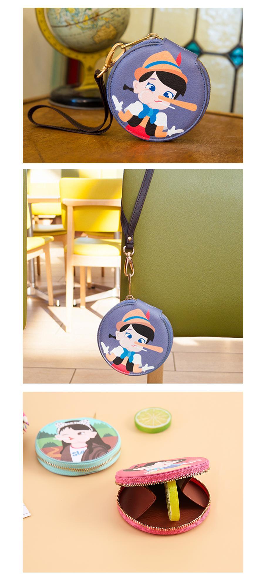 Bentoy moda dibujos animados pequeño monedero cartera mujer cremallera dinero bolsa llavero para bolso bolsa caja almacenamiento redonda para auriculares 3