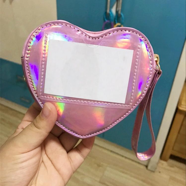 Wallet pocket pink heart holographic 8