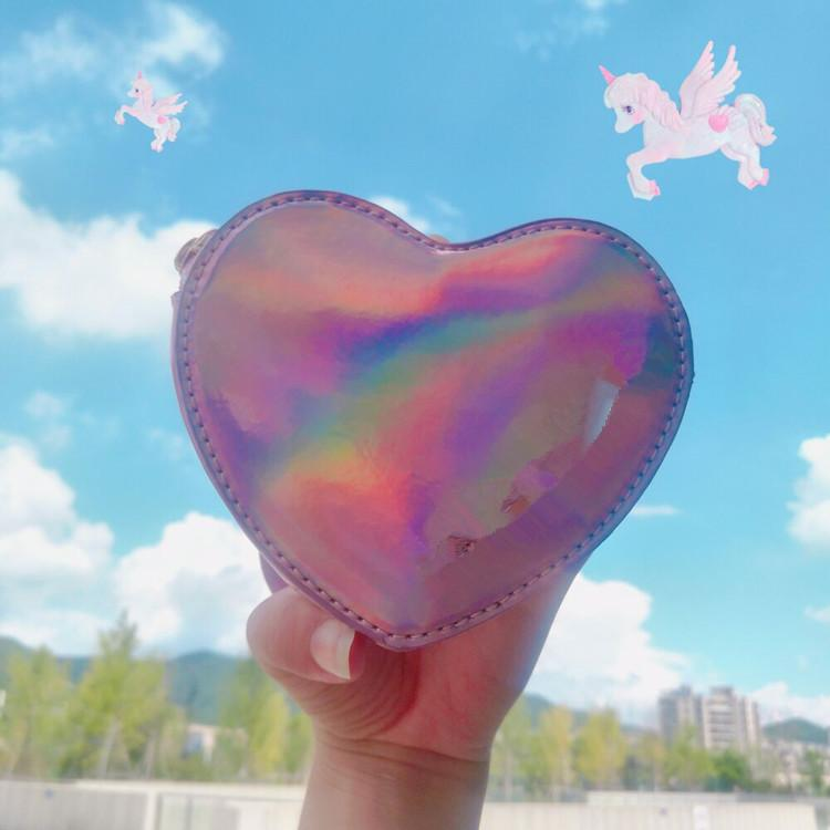 Wallet pocket pink heart holographic 10