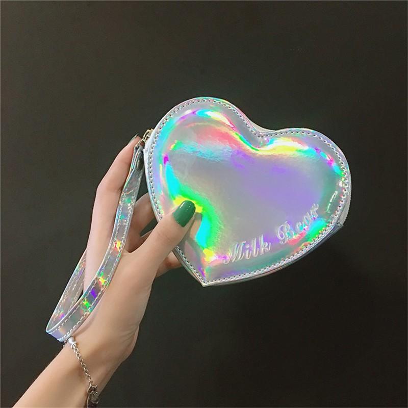 Wallet pocket pink heart holographic 4