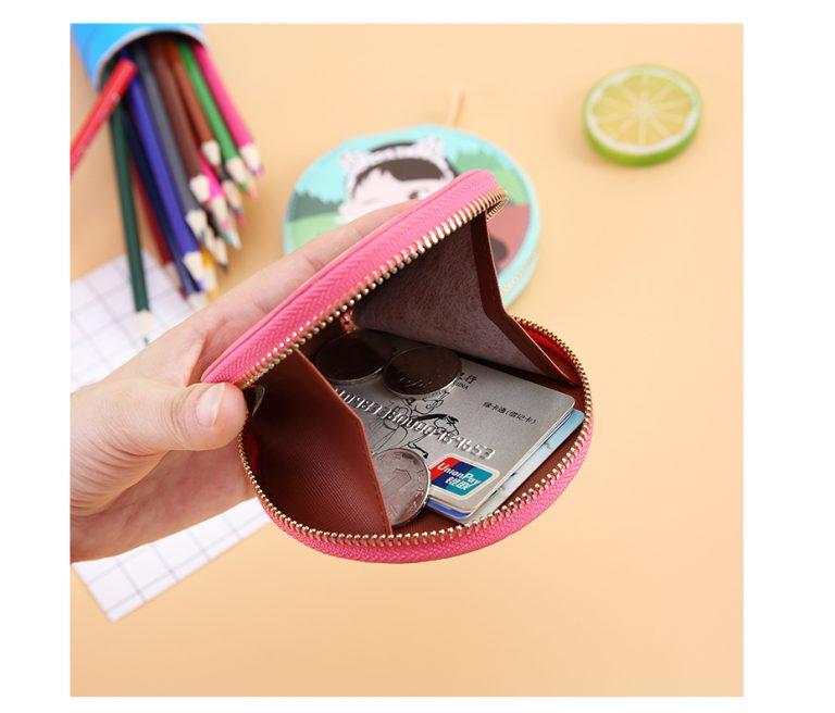Bentoy moda dibujos animados pequeño monedero cartera mujer cremallera dinero bolsa llavero para bolso bolsa caja almacenamiento redonda para auriculares 5