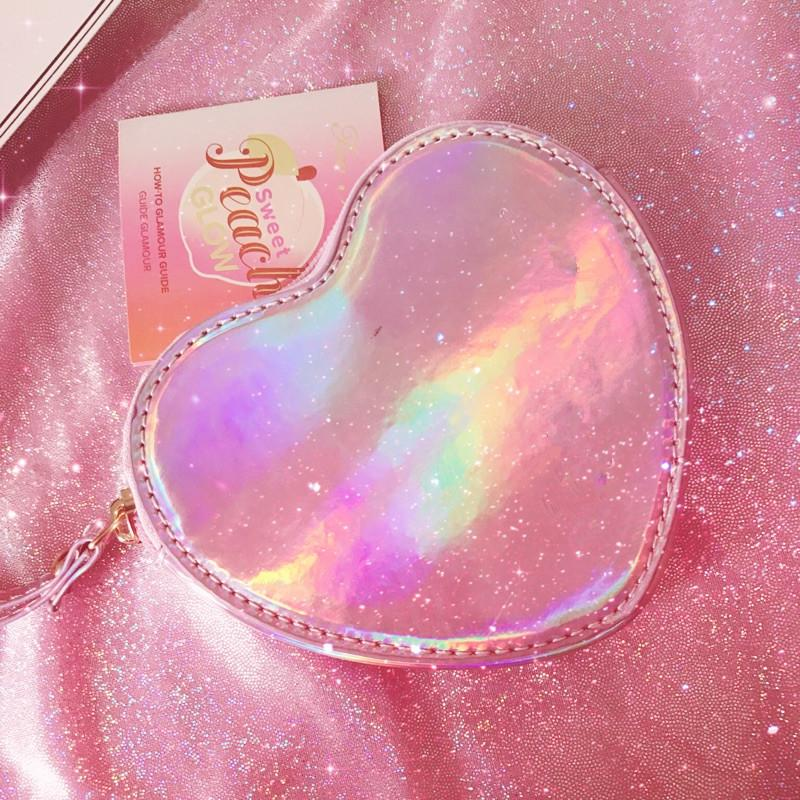 Wallet pocket pink heart holographic 7