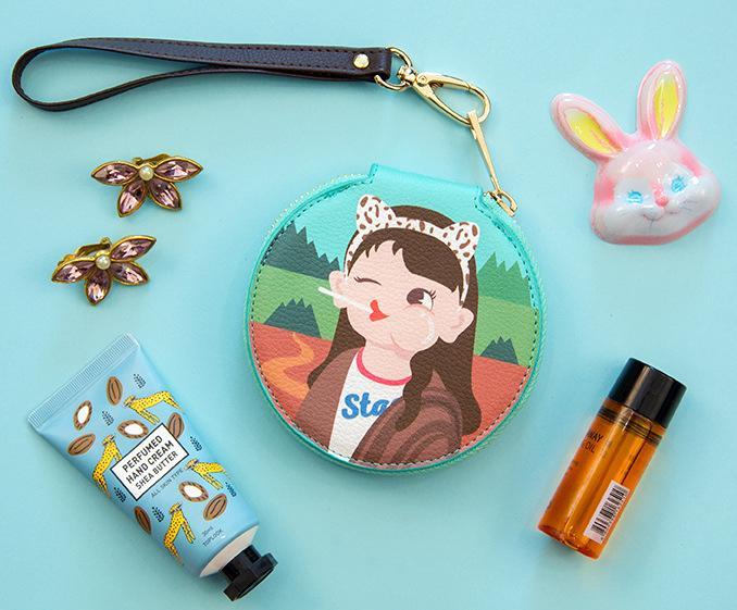 Bentoy moda dibujos animados pequeño monedero cartera mujer cremallera dinero bolsa llavero para bolso bolsa caja almacenamiento redonda para auriculares 2