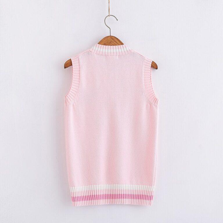 Chaleco de punto kawaii rosa pastel con conejito bordado 2