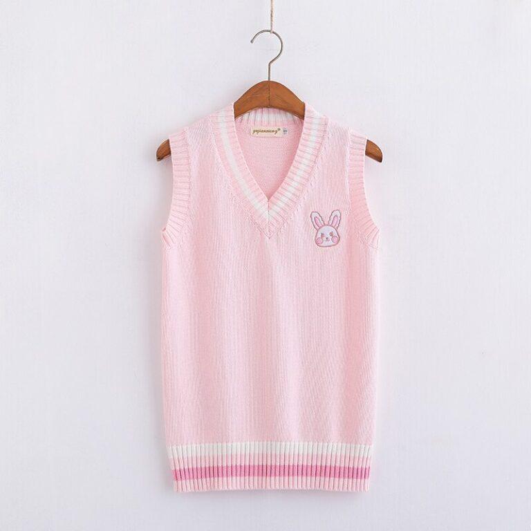 Chaleco de punto kawaii rosa pastel con conejito bordado 3